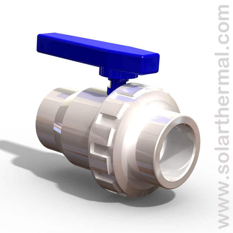 Pvc ball valve with union quot slip to white