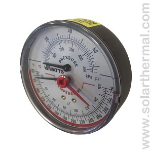 "Watts Lead Free (Tridicator) Pressure and Temperature Gauge (3"" face)"