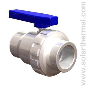 "White PVC Ball Valve with Union  - 1.5"" Slip to Slip"